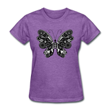 Butterfly With Swirls - Women's - purple heather