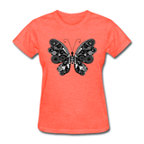 Butterfly With Swirls - Women's - heather coral