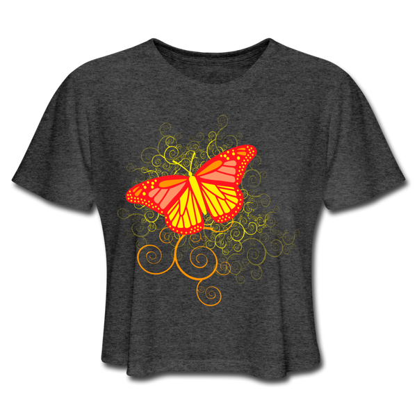 Butterfly Swirl Background - Cropped Women's - deep heather