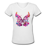 Abstract Pink Butterfly - V-Neck Women's - white