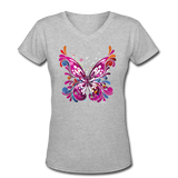 Abstract Pink Butterfly - V-Neck Women's - gray