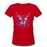 Abstract Pink Butterfly - V-Neck Women's - red