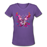 Abstract Pink Butterfly - V-Neck Women's - purple