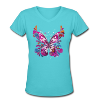 Abstract Pink Butterfly - V-Neck Women's - aqua