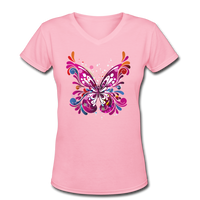 Abstract Pink Butterfly - V-Neck Women's - pink