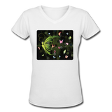 Green Butterfly Collage - V-Neck Women's - white