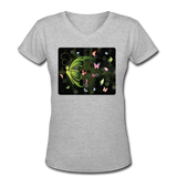 Green Butterfly Collage - V-Neck Women's - gray