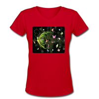 Green Butterfly Collage - V-Neck Women's - red