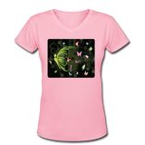 Green Butterfly Collage - V-Neck Women's - pink
