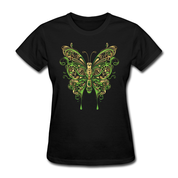 Green Ornate Butterfly - Women's - black