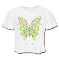 Green Ornate Butterfly - Cropped Women's - white