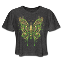 Green Ornate Butterfly - Cropped Women's - deep heather
