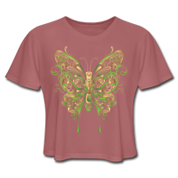 Green Ornate Butterfly - Cropped Women's - mauve