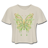 Green Ornate Butterfly - Cropped Women's - dust