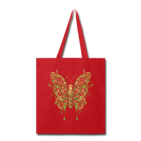 Green Ornate Butterfly - Tote - red