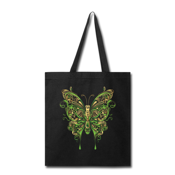 Green Ornate Butterfly - Tote - black