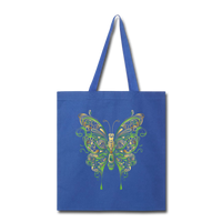 Green Ornate Butterfly - Tote - royal blue