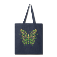 Green Ornate Butterfly - Tote - navy