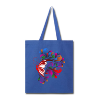 Red Butterfly Swirls - Tote - royal blue