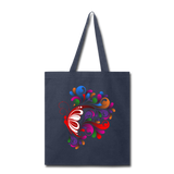Red Butterfly Swirls - Tote - navy