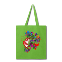 Red Butterfly Swirls - Tote - lime green