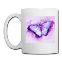 Purple and Blue Sketch Butterfly - Mug - white