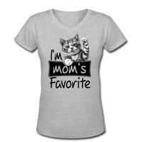 Cat's Mom's Favorite - V-Neck - gray
