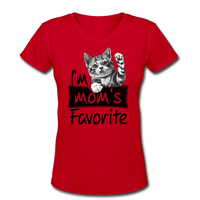 Cat's Mom's Favorite - V-Neck - red