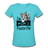 Cat's Mom's Favorite - V-Neck - aqua