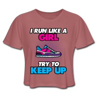 I Run Like A Girl - Cropped Women's - mauve