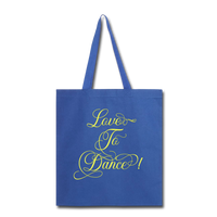 Love to Dance! Yellow - Tote2 - royal blue