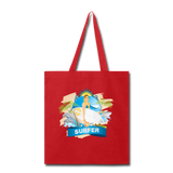 Lady Surfer and Dolphins - Tote - red