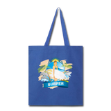 Lady Surfer and Dolphins - Tote - royal blue