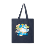 Lady Surfer and Dolphins - Tote - navy