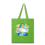 Lady Surfer and Dolphins - Tote - lime green