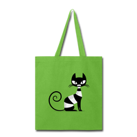Black Cat Sitting - lime green