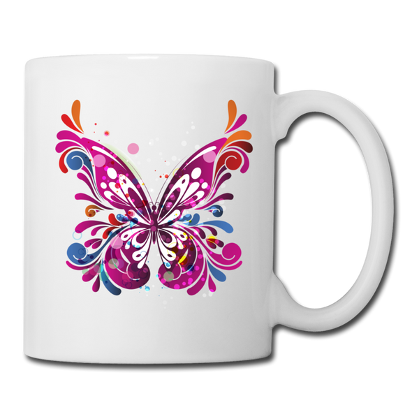 Abstract Pint Butterfly - White Mug - white