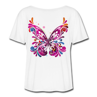 Abstract Pink Butterfly - Ladies  Scoop Neck - white