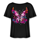 Abstract Pink Butterfly - Ladies  Scoop Neck - black