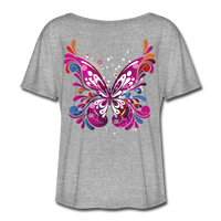 Abstract Pink Butterfly - Ladies  Scoop Neck - heather gray