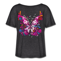 Abstract Pink Butterfly - Ladies  Scoop Neck - charcoal gray