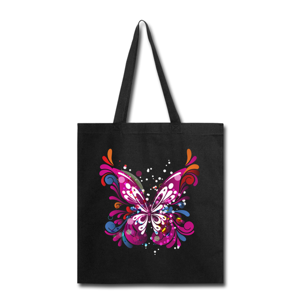 Abstract Pink Butterfly - Black Tote - black