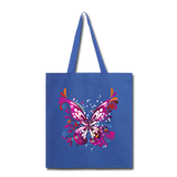 Abstract Pink Butterfly - Black Tote - royal blue