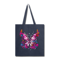 Abstract Pink Butterfly - Black Tote - navy