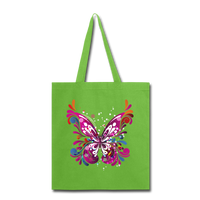 Abstract Pink Butterfly - Black Tote - lime green