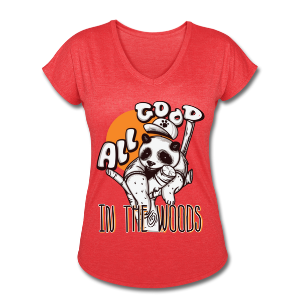 All Good in the Woods - Ladies Tri-blend V-Neck - heather red