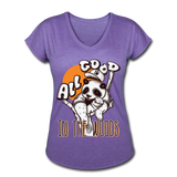 All Good in the Woods - Ladies Tri-blend V-Neck - purple heather
