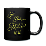Yellow Line Dancing Word - Black Mug - black