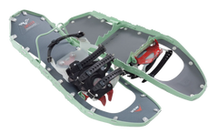Light blue snow shoes, a pair of them, with one flipped over