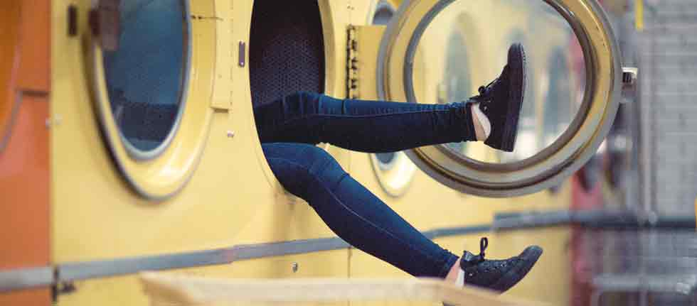 WANNABE Blog - Stressed Out, woman in clothes dryer